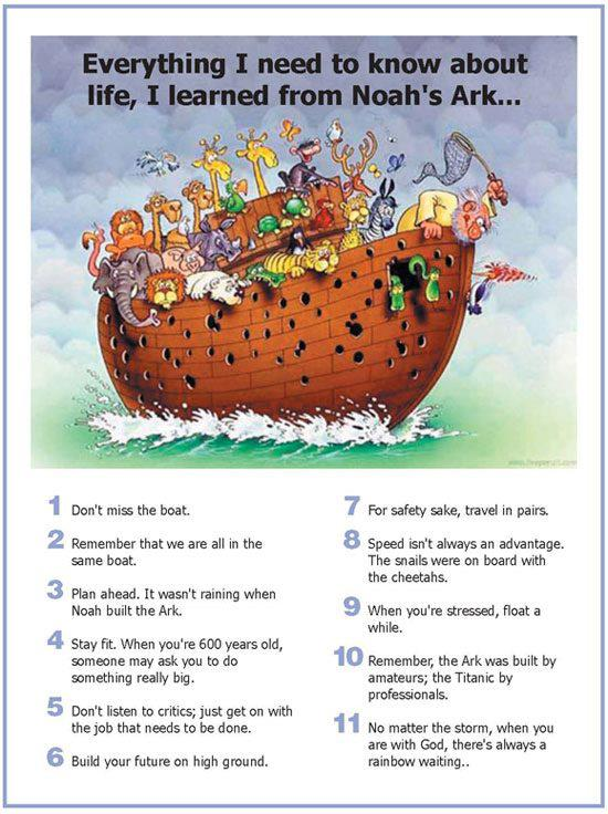 Lessons Learned from Noah's Ark