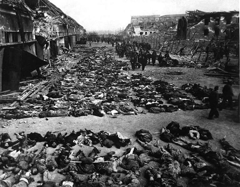 Rows of bodies fill the yard of the Boelcke-Kaserne (Boelcke Barr acks) located in the south-east of the town of Nordhausen. The barracks was a subcamp of the en:Mittelbau-Dora Nazi concentration camp. Wikipedia