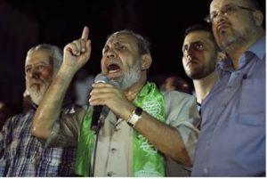 "Hamas official Mahmoud al-Zahar at ""victory rally"" in Gaza (Reuters)"
