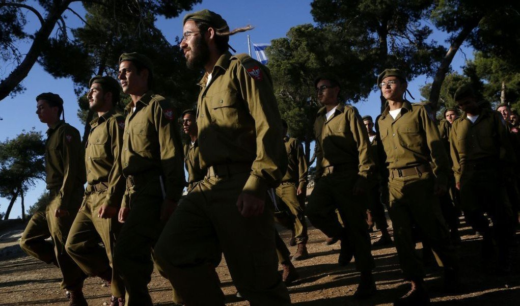 Haredi recruits march during a swearing-in ceremony at Ammunition Hill, Jerusalem, May 26, 2012 (photo credit: Miriam Alster/FLASH90)