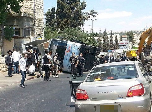 The overturned bus