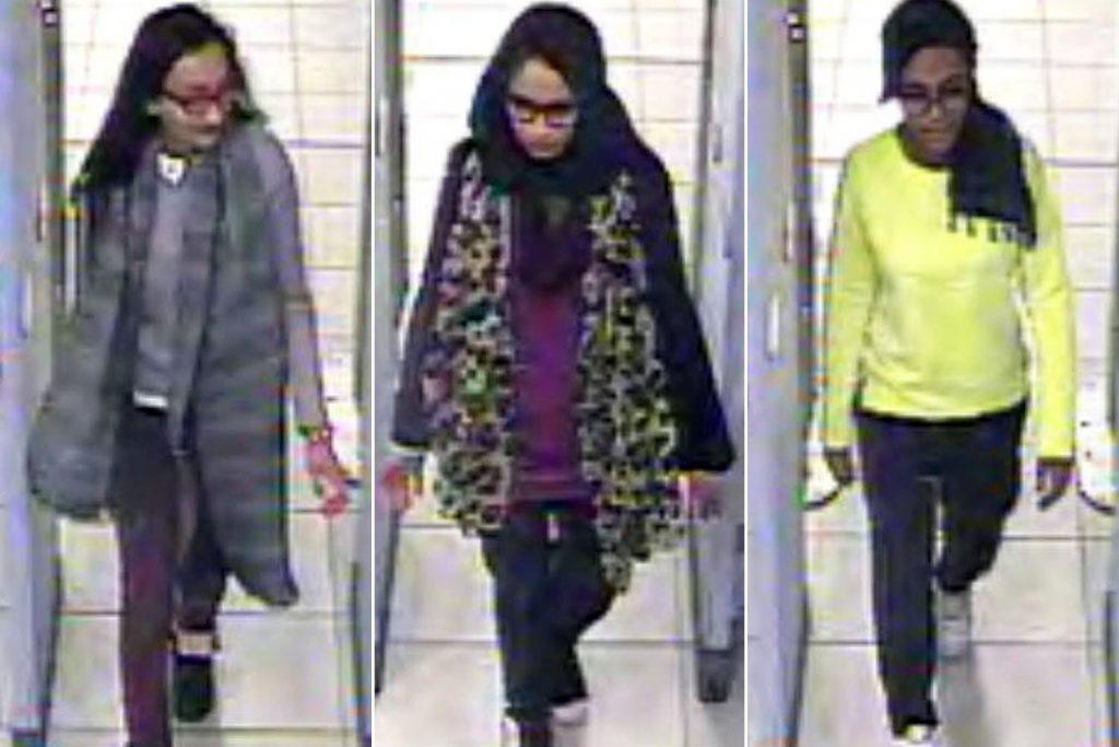 Kadiza Sultana (from left), Shamima Begum and Amira Abase go through security at Gatwick airport.Photo: AP (3)